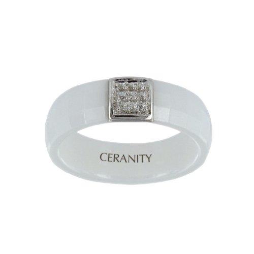 Ceranity Damen-Ring Sterling-Silber 925 Keramik Zirkonia 1-12/0001-B
