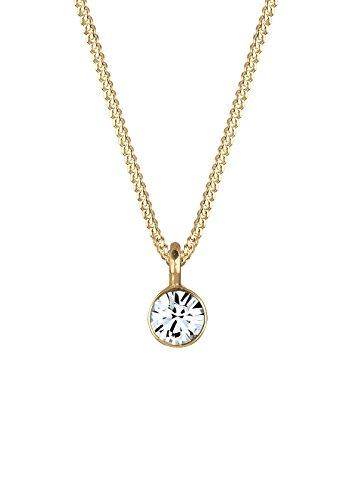 Elli Damen-Kette mit Anhänger Kreis 925 Silber teilvergoldet Kristall weiß Rundschliff 45 cm - 0101423017_45