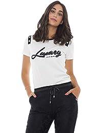 Liu Jo Sport T Shirt Donna Maniche Corte con Stampa Lavorata a Maglia e2601aaea1f