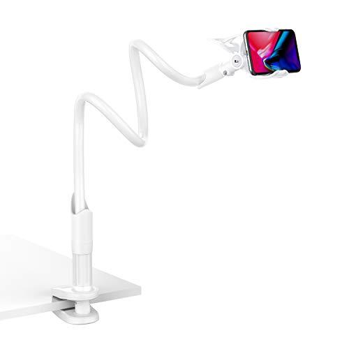 Lamicall Handy Halter für Bett, Schwanenhals Handy Halterung : Universal Flexible Lang Arm Handy Ständer für Phone 11 Pro XS Max XR X 8 7 6S Plus, Samsung S10 S9 S8 S7, 4-6,5 Zoll Smartphone -Weiß