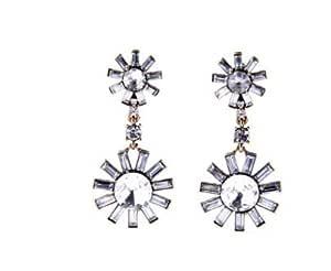 Buy Tbop Earring Cool Diamond Sea Blue Women Ear Clip Earrings 6 4cm 2 8cm Transparent For Women At Amazon In