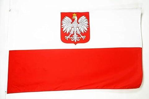 DRAPEAU POLOGNE AVEC AIGLE 250x150cm - GRAND DRAPEAU POLONAIS 150 x 250 cm - AZ FLAG