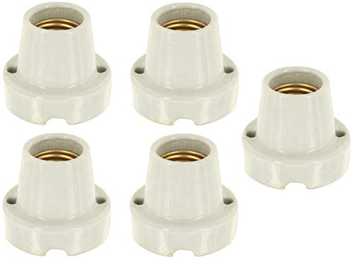 5er PACK - Aufbauleuchte Keramik Hart-Porzellan E27 - Basic natur-weiß - max. 1000W - z.B. für Terrarien