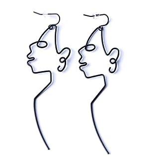 LJSLYJ Black Face Dangle Wire Earrings Girls Artsy Outline Long Earrings For Women