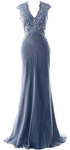 MACloth Elegant V Neck Evening Formal Gown Lace ChiffonMother of the Bride Dress Steel Blue