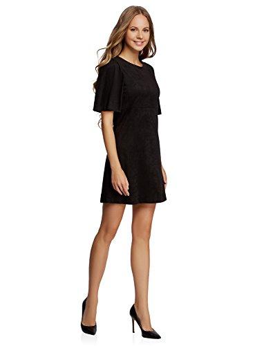 oodji Ultra Damen Lässiges Kleid aus Wildlederimitat Schwarz (2900N)