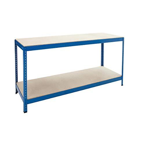 Industriestahl Werkbank Tisch Regal mit 2Einlegeböden, Melamin oder Spanplatte-2Breiten (1800mm breit Spanplatte Einlegeböden)