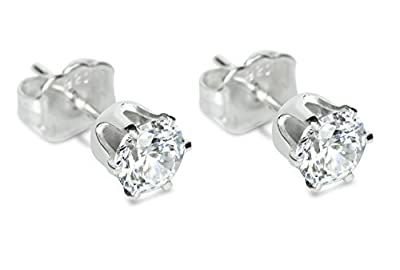 Isabella Silver 925 Solid Sterling Silver Round Stud Earrings made with 4mm Swarovski Zirconia - Clear : everything 5 pounds (or less!)