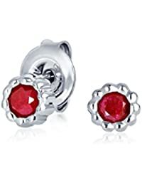 Bling Jewelry Simulated Ruby July Birthstone Stud earrings 925 Sterling Silver 5mm