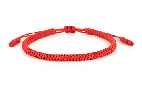 Mister Boncuks Get Lucky Knoten Armband - Tibetische Buddha Handarbeit Glücksbringer Knoten Armband - Yoga Sport - Meditation - Glück - Liebe - Geschenk - Mode - Trend (Rot) Rot Armband