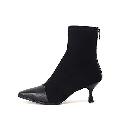 Top Shishang Damen spitz High Heels Vintage Wildleder Stretch Stiefel Martin Stiefel Chelsea Boots und Stiefel Western Stiefeletten,schwarz,35 Western Wellington Boot