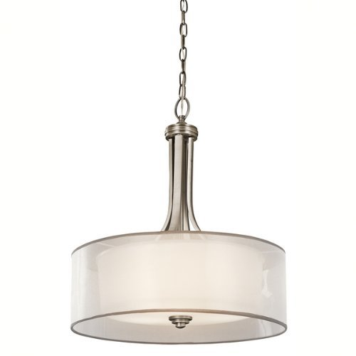 Cased Opal Shade (Kichler Lighting 42385AP Lacey 4-Light Inverted Pendant, Antique Pewter with Cased Opal Inner Diffusers and White Organza Translucent Outer Shades by Kichler)