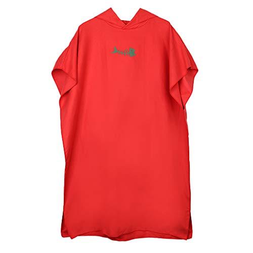 Unbekannt Baoblaze Herren Damen Bademantel Poncho Umziehhilfe Badeponcho Surfen Wechseln Handtuch Robe Kapuzenhandtuch - Rot