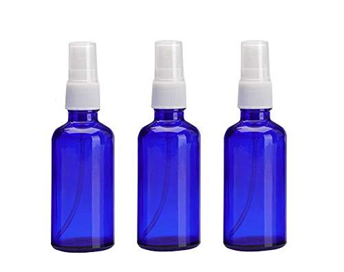3 STÜCKE 50 ml / 1,76 unze Blaue Glasflasche und Weiß Sprühkopf Tragbare Sprühflasche Gesichtsnebel Hause Toner Hydrated Glas Leere Flasche Verpackung Makeup Hautpflege Werkzeuge -