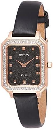ساعة تعمل بالطاقة الشمسية بسوار جلدي للنساء من سيكو، موديل SUP446P