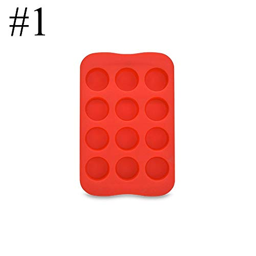 12 Slot Silicone Chocolate Jelly Mold Tray Star/Heart/Round/Square Shape Diy Pudding Maker Mould Freeze Ice Cube Plate Drop Ship,Red-1 Star Chocolate Mold