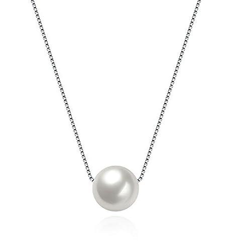 AnaZoz Collier Argent S925 Femme Incrusté AAA Zircone Cubique Perle Pendentif Maille Vénitienne Necklace 40CM+2CM