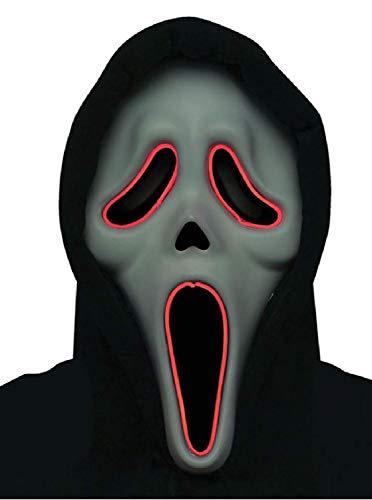 Fancy Me Maske für Erwachsene, Herren und Damen, offizielles Scream Movie Gesicht, leuchtende Maske, Halloween, Kostüm, Outfit, Zubehör (Offizielle Scream Kostüm)