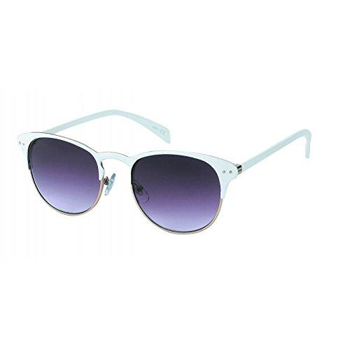 Chic-Net Panto Metall Sonnenbrille rund John Lennon Stil Punkte Vintage 400UV getönt Cat Eye weiß