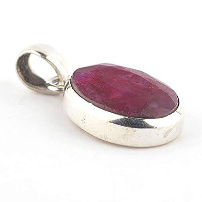 Pendentif ovale d Rubis rouge serti d'argent 925, 18x14x6 mm