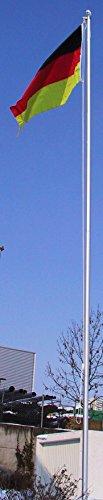 Fahnenmast 5xALU, Bodenhülse, Seilzug, Obere Abdeckung inkl. Deutschlandfahne mit Ösen, 150 x 90 cm Größe 7.5 Meter