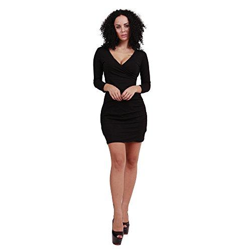 JOTHIN 2017 Femmes Nouvelle Talonnage Robe Sexy Slim Cou V Couleur Unie Package Hanche à Manches Longues Jupe d'étape(S-XL) Noir