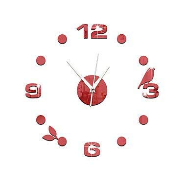 JJZLY Kamin Awards Clock DIY Aufkleber Acryl Spiegel Wandaufkleber, rot,rot