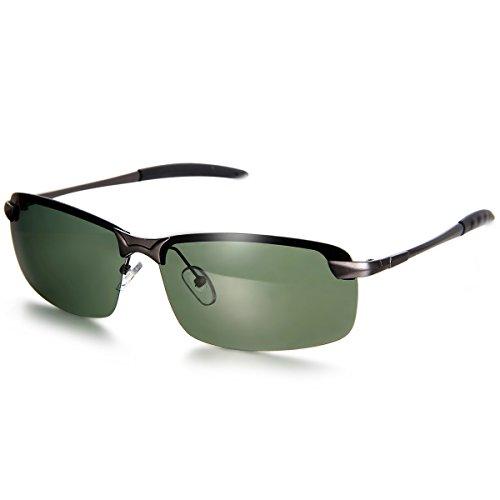 Aroncent Herren Damen Sonnenbrille, Strahlenschutz Polarisierte Coole Sonnenbrille, Halbrahmen Sonnenbrille, Grün