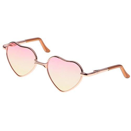MagiDeal Fashion Puppen Brille Sonnenbrille mit Herz Rahmen für 1/6 Blythe Puppen - Goldrahmen + Rosa gelbes Objektiv