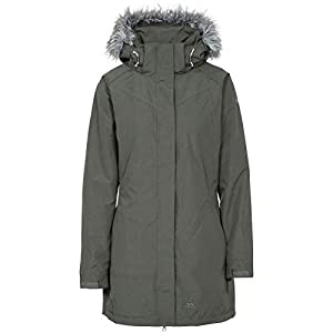 Trespass San Fran , Olive, L, Waterproof Jacket with Removable Hood for Ladies, Green, Large