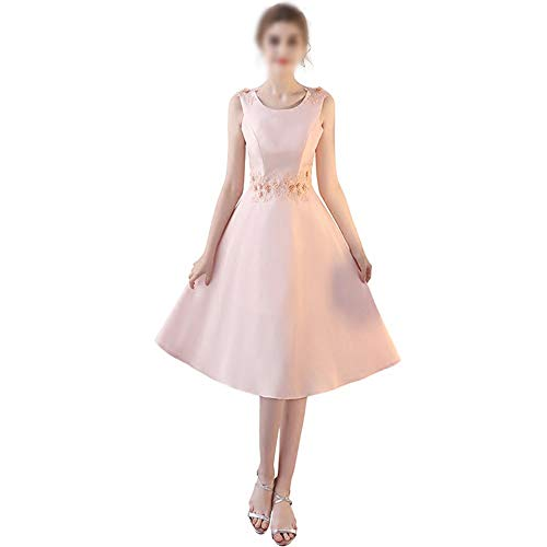 Frauenkleid Party Hochzeit Cocktail Womens Pink ärmelloses High Waisr A-Linie Kleid (Farbe : Rosa, Size : XS)