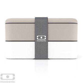 Monbento Original grau / weiß - Die Bento-Box + Edelstahlstyling Universalmesser GRATIS -