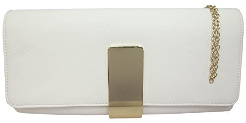UKFS Donne Ragazze Grande Pianura Lynda Ecopelle Pochette Da Giorno / Borsa A Tracolla (Blu) Bianco