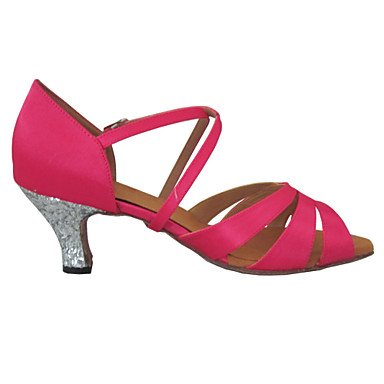 Scarpe da ballo Donna - Latinoamericano - Customized Heel - Satin / Glitter - Blu / Rosa Peach