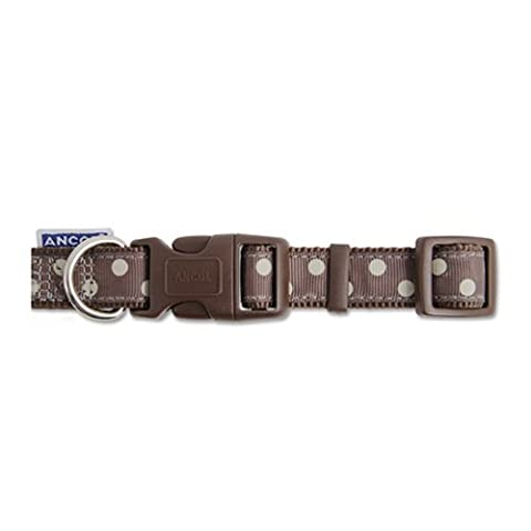 Indulgence Vintage Polka Nylon Adjustable Dog Collar, 30-50 cm, Mocha