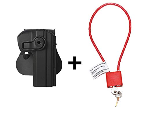 CZ SP-01 Holster & Cable Gun Lock, Level 2 Safety retention w trigger guard lock, 360 roto paddle polymer Holster Fits CZ Shadow / Tactical / CZ 75 Compact -