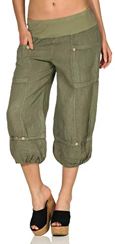 Baumwoll-leinen-muster (Malito Damen Hose aus Leinen | Stoffhose in Uni Farben | Freizeithose für den Strand | Chino - Capri Hose 6830 (S, Oliv))