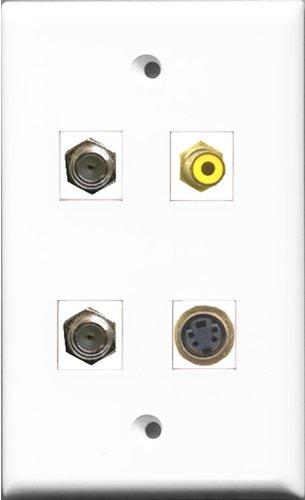RiteAV 1Port RCA gelb 2Port Koax-Kabel TV-F- und 1Port S-Video Wall Plate Kabel-tv Wall Plate