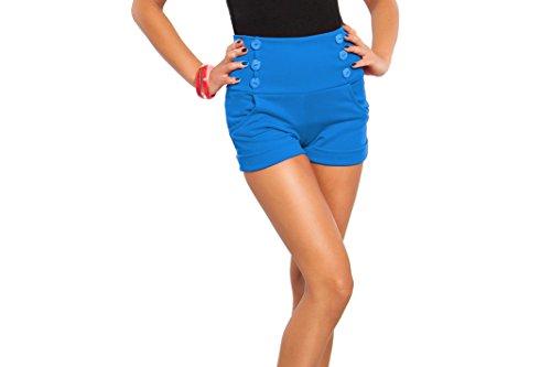Futuro Fashion été Taille Haute Sophistiquée Trendy Short avec poches et Boutons Taille 8-18 UK PA08 Bleu - Bleu