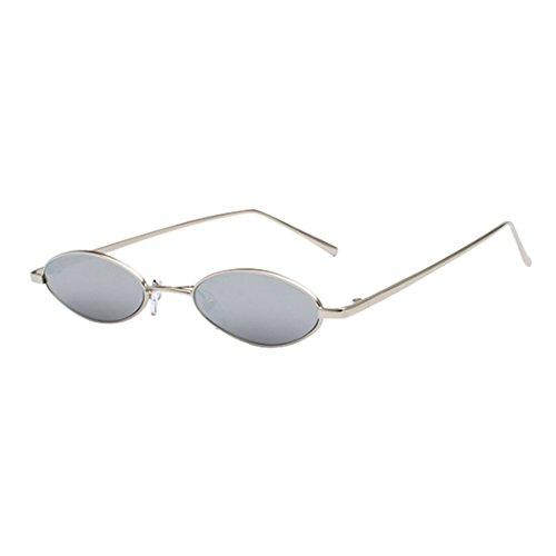 Inlefen Unisex Vintage kleine ovale Sonnenbrille schlanke Metallrahmen Candy Colors Eyewear
