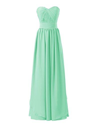 Dresstells, A-ligne-parole longueur robe de soirée en mousseline de soie chérie Menthe