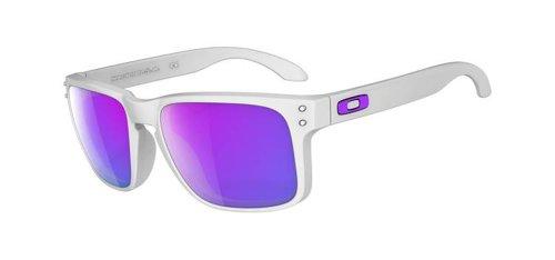 Oakley Herren Sonnenbrille Holbrook Matte White Violet Iridium, 55