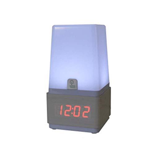 Wecker Wecklicht, LED Energiesparendes Massivholz Schallschutz Induktion Augenschutz Silent Temperature Test Tischlampe 10,5X10,5X20cm