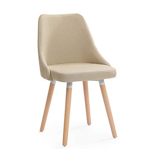 chenyang86 Chaise-dossier minimaliste moderne chaise en bois massif tissu chaise de bureau chaise 85 * 42 * 42cm (Couleur : Beige, taille : 85 * 42 * 42cm)