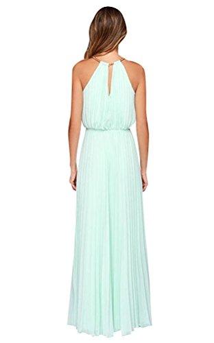 Ghope Femme Robe Long Maxi Chiffon Ete Sans Manche Plissée Uni Soirée Elegant Cocktail Bleu