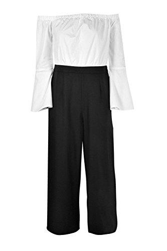 blanc Femmes Niamh Combinaison Ajustée Chemise Bardot Contrastée Blanc