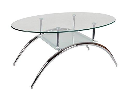 ts-ideen Glastisch Beistelltisch Couchtisch Oval mit Edelstahl und 8 mm ESG Sicherheitsglas