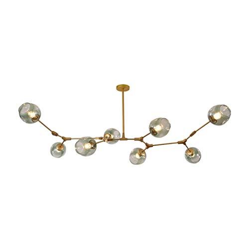 Gold 8 Licht (Ast Kronleuchter,mitte-hundert Sputnik Verstellbarer Arm Dna-moleküle Pendent Beleuchtung,glas Magie Blase Ball Hängelampe Semi Flush Mount Fixture Industrielle Deckenleuchte-e-gold 8-licht)