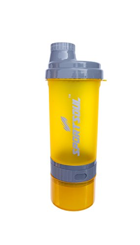 SportSoul 600ml Protein Shaker Bottle (with Storage Compartment And Pill Tray)