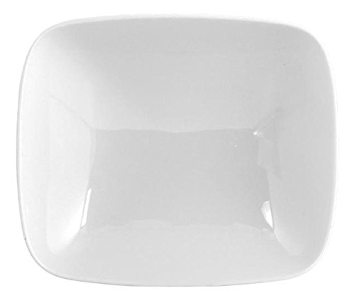 H&H Kyoto Assiette Creuse carré, céramique, Blanc, 18 x 15,5 x 5 cm